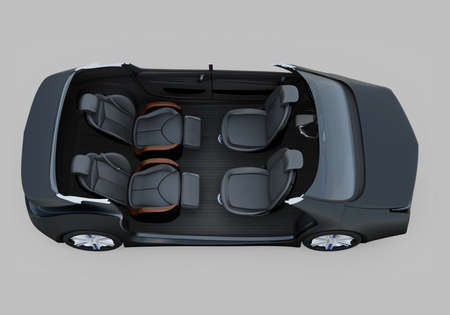 autonomous: Self-driving car cutaway image. Right doors opened and front seats turned backward in meeting mode.  The rear seats have gorgeous reclining massage function. 3D rendering image.