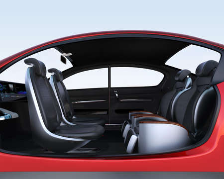 Self-driving car cutaway image. Front seats turn to backward, and the rear seats have gorgeous reclining massage function. 3D rendering image. Stock Photo