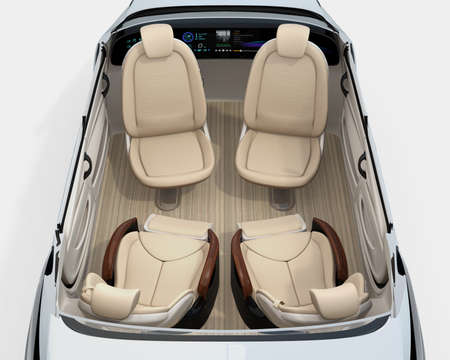 Rear view of self-driving car cutaway image. Front seats turn to backward, and the rear seats have gorgeous reclining massage function. 3D rendering image.