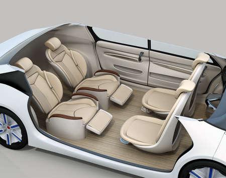 Zelfrijdende auto beeld weggesneden. Voorstoelen richten op achteruit, en de achterste stoelen hebben prachtige liggende massagefunctie. 3D-rendering afbeelding.