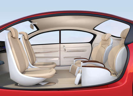 Business meeting seats layout in autonomous car. Front seats turn to backward, and the rear seats have gorgeous reclining massage function. 3D rendering image.
