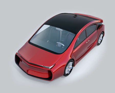robo: Red autonomous vehicle image. 3D rendering image with clipping path.