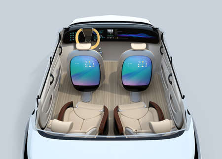 Self-driving car concept image. Front seats back monitor showing digital interface which could connect to Internet. 3D rendering image.