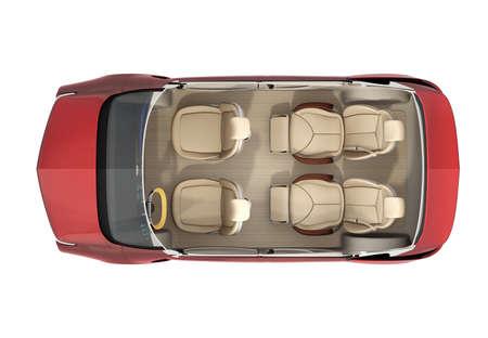 自動運転車イメージの平面図です。後部座席には、豪華なリクライニング マッサージ機能があります。3 D レンダリング イメージ。