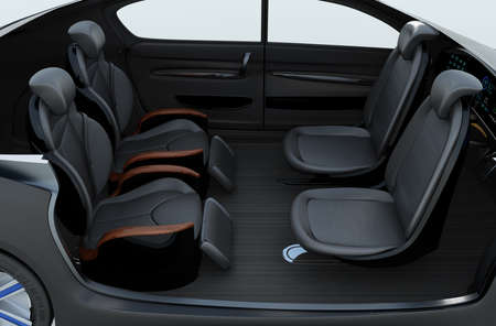 recline: Business meeting seats layout in autonomous car. Front seats turn to backward, and the rear seats have gorgeous reclining massage function. 3D rendering image.