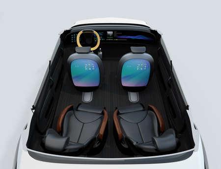 asiento: Auto-conducción imagen del concepto de coche. monitor de vuelta asientos delanteros 'que muestra la interfaz digital que podría conectarse a Internet. Representación 3D de la imagen.