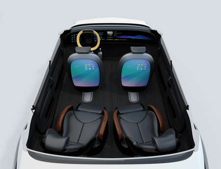 autonomous: Self-driving car concept image. Front seats back monitor showing digital interface which could connect to Internet. 3D rendering image.