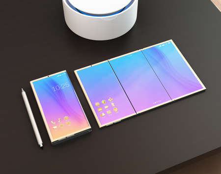 unfold: Foldable smart phone, phone that unfolded as tablet PC, digital pen and detachable keyboard and voice assistant on a dark wood table. 3D rendering image. Original design. Stock Photo