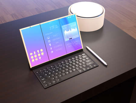 unfold: Tablet PC, keyboard, digital pen, voice assistant on a dark wood table. The tablet showing home energy management information. 3D rendering image.