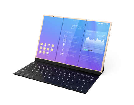 unfold: Digital tablet PC docking on a black mobile keyboard. 3D rendering image. Stock Photo