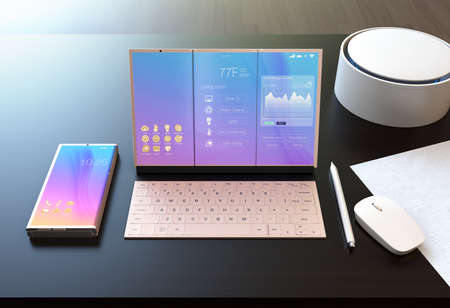 Smart phone, tablet PC, digital pen, keyboard and voice assistant on a dark wood table. The tablet showing home energy management information. 3D rendering image.