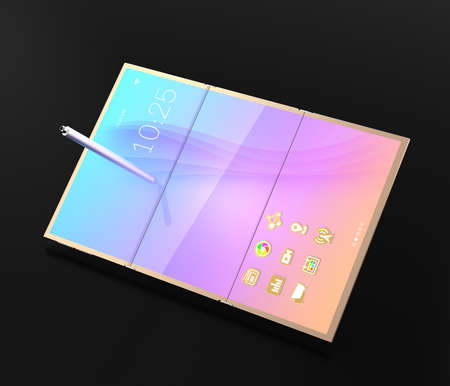 folding screens: Digital pen and smart phone which unfolded as tablet PC on dark background. 3D rendering image. Stock Photo