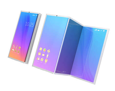 Foldable smart phone, and the phone unfolded as tablet PC isolated on white background. 3D rendering image. Original design. Archivio Fotografico