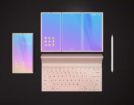 unfold: Foldable smart phone, smart phone that unfolded in tablet PC mode, digital pen and detachable keyboard on dark wood table.