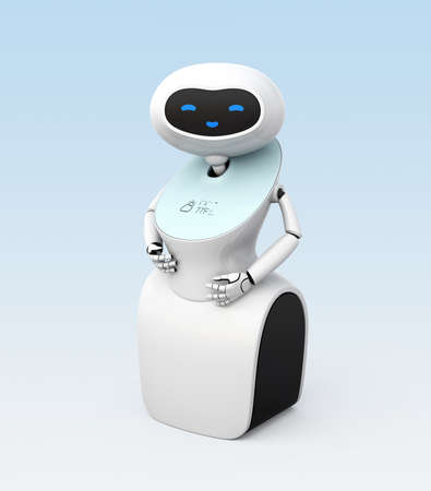 Humanoid robot with touch screen isolated on light blue background. 3D rendering image.