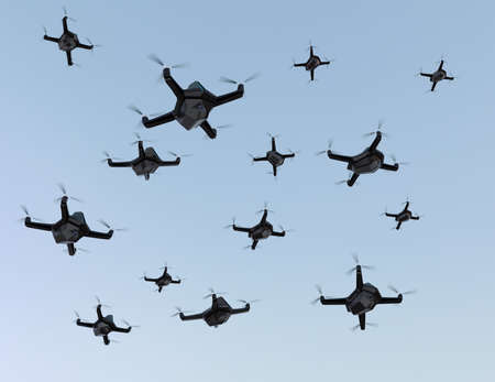 drones: Swarm of security drones with surveillance camera flying in the sky. 3D rendering image