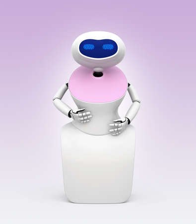 Front view of humanoid robot with touch screen isolated on light pink background. 3D rendering image.