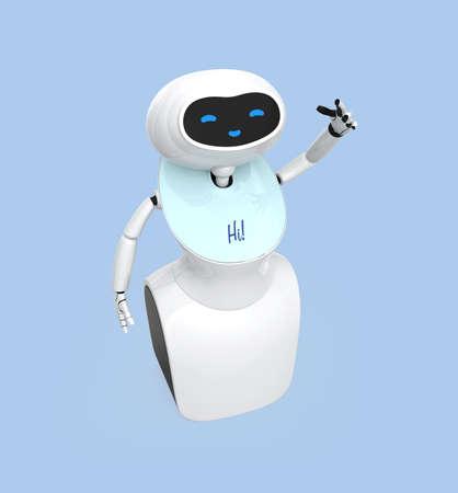 明るい青の背景に分離されたタッチ スクリーンを持つヒューマノイド ロボット。3 D レンダリング イメージ。