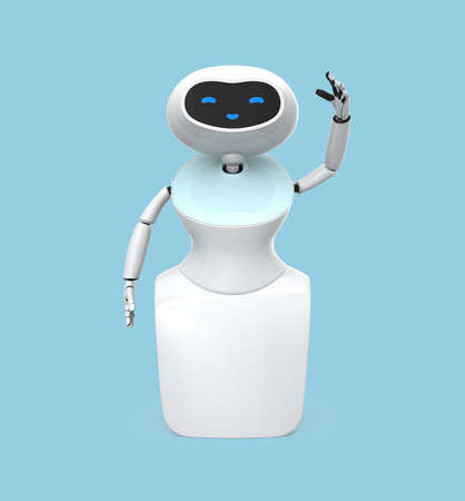 Front view of humanoid robot with touch screen isolated on light blue background. 3D rendering image.