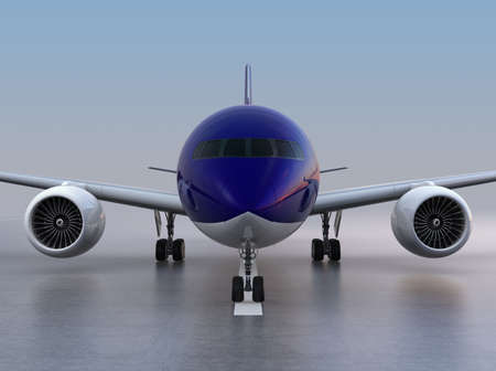 Front view of passenger airplane taxiing on the runway. 3D rendering image. Stock Photo