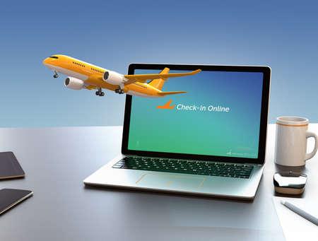 turbofan: Passenger plane taking off from laptop computer. Online flight check in concept. 3D rendering image.