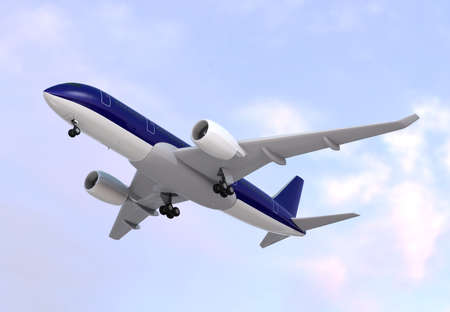 turbofan: Passenger airplane flying in the sky. 3D rendering image.