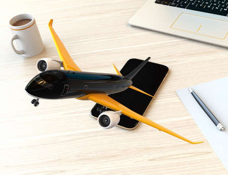 turbofan: Passenger plane taking off from smart phone. Mobile airlines check in concept. 3D rendering image.