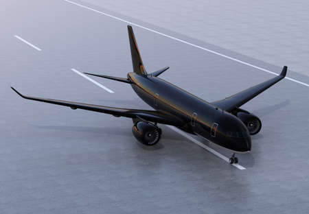 Passenger airplane taxiing on the runway. 3D rendering image.