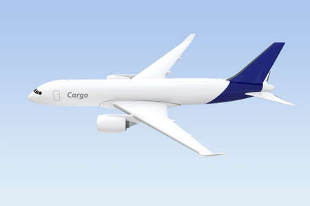 Side view of cargo airplane isolated on light blue background. 3D rendering image. Stock Photo