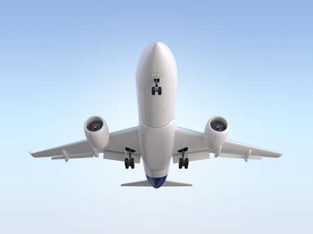 Front view of passenger airplane flying in the sky. 3D rendering image.