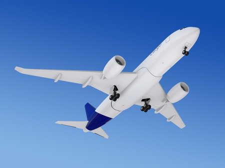 turbofan: Cargo airplane flying in the sky. 3D rendering image.