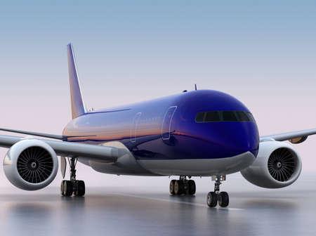 turbofan: Passenger airplane taxiing on the runway. 3D rendering image.