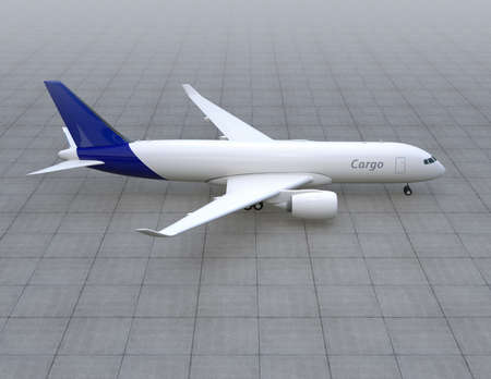 turbofan: Cargo airplane taxiing on the runway. 3D rendering image. Stock Photo