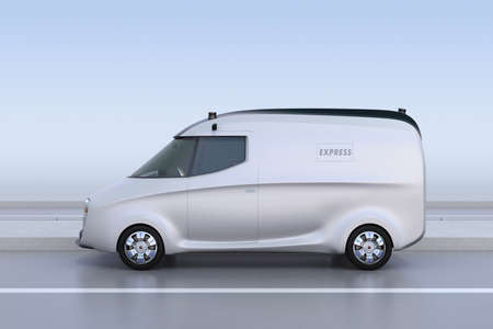 Side view of silver delivery van on the road. 3D rendering image.