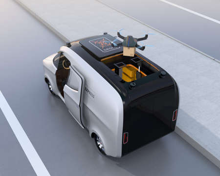 Rear view of a drone taking off from van for delivering cardboard parcel. 3D rendering image. Stock Photo