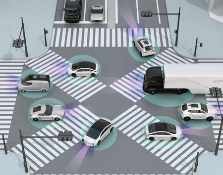 Smooth traffic in crossroad. Concept for advantage autonomous technology. 3D rendering image. 스톡 콘텐츠