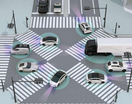 Smooth traffic in crossroad. Concept for advantage autonomous technology. 3D rendering image. Archivio Fotografico