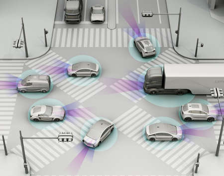 Smooth traffic in crossroad. Concept for advantage autonomous technology. 3D rendering image. (Simply shading) Foto de archivo