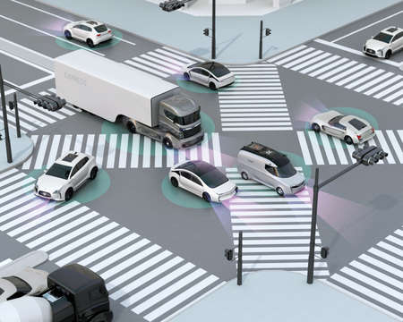 Smooth traffic in crossroad. Concept for advantage autonomous technology. 3D rendering image. Banco de Imagens