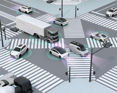 tráfico fluido en cruce. Concepto de tecnología autónoma ventaja. Representación 3D de la imagen.