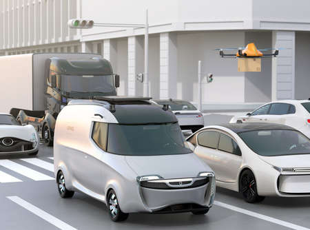scramble: Delivery van stuck in traffic jam. The van released a delivery drone to delivering a cardboard parcel. 3D rendering image. Stock Photo