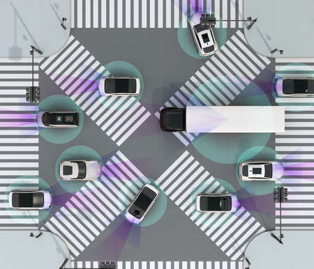 Top view of the crossroad. Concept for advantage autonomous technology. 3D rendering image.