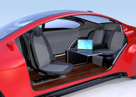 reclining: Self driving car interior concept. A laptop computer on the foldable table . 3D rendering image.