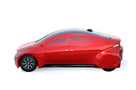 Side view of red autonomous vehicle isolated on white background. 3D rendering image. Original design. Stock Photo