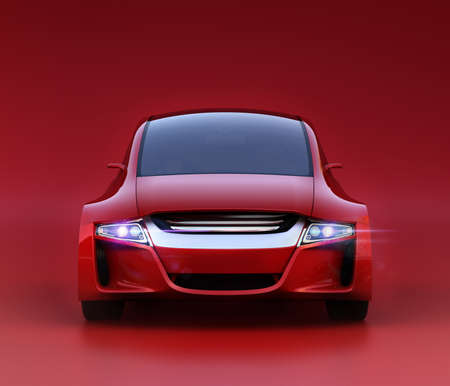 sunroof: Front view of red autonomous vehicle on red background. 3D rendering image. Original design. Stock Photo