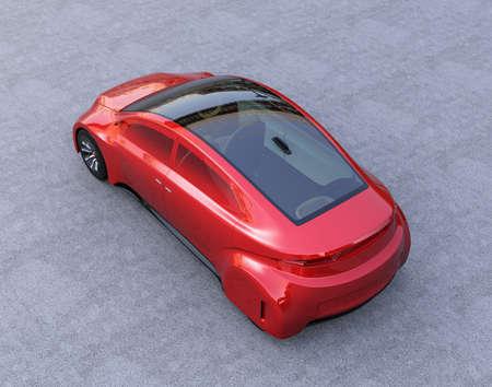 Achteraanzicht van rood autonoom voertuig. 3D-rendering afbeelding.
