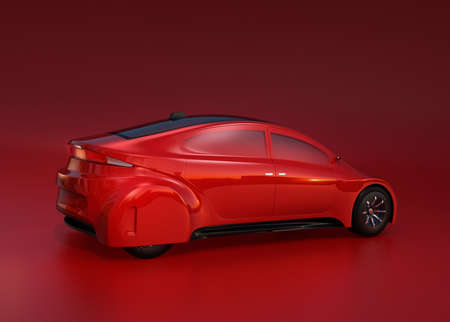 sunroof: Rear view of red autonomous vehicle on red background. 3D rendering image. Original design. Stock Photo