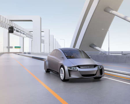 monorail: Silver autonomous car driving on the highway with monorail on background. 3D rendering image.