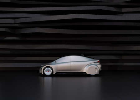 sunroof: Side view of silver self-driving car on abstract background. 3D rendering image. Stock Photo