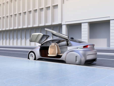 sunroof: Silver autonomous car parking at the side of the road. 3D rendering image.